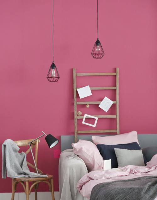 Chambre en gris et rose