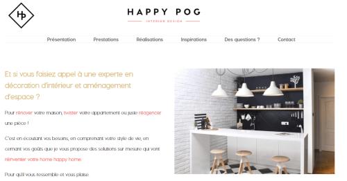 page d'accueil site Happy POG société de conseils en décoration d'intérieur et design d'espace