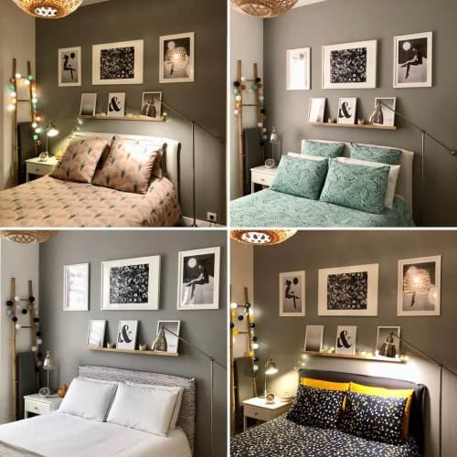 chambre parentale avec différentes parures de linge de lit