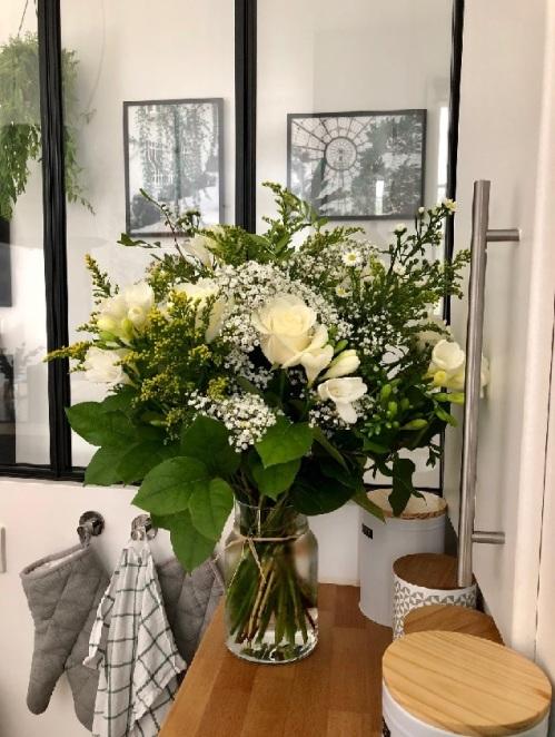 fleurs rose blanche cuisine