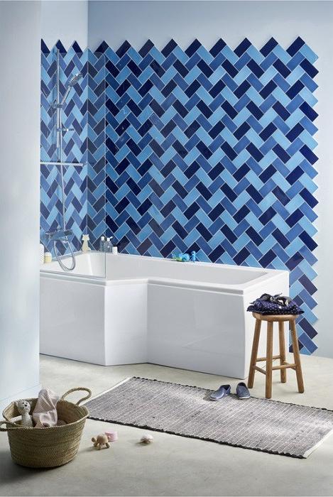 baignoire douche lapeyre carreaux bleus