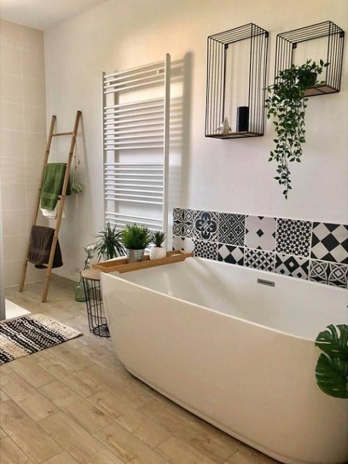salle de bain industrielle carreaux de ciment