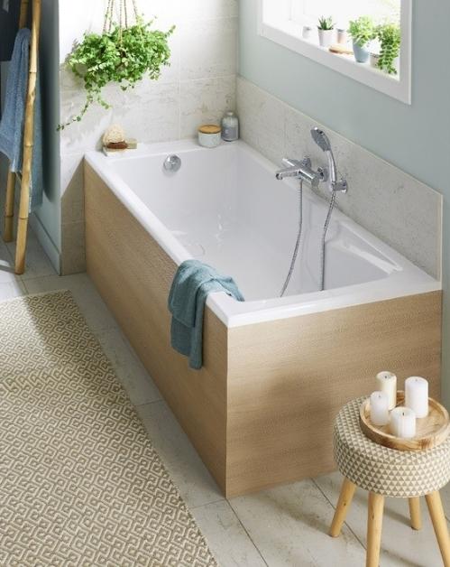 salle de bain zen habillage baignoire bois