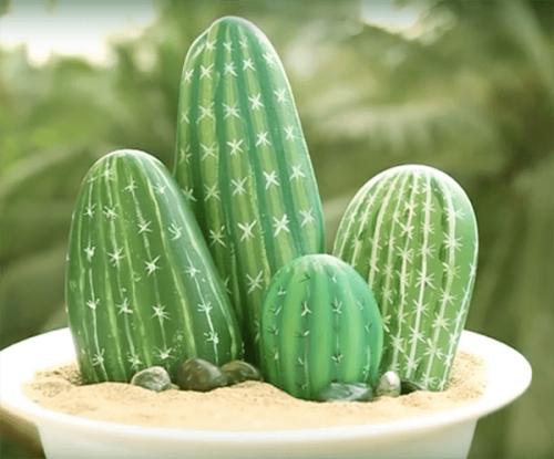 DIY cactus galets